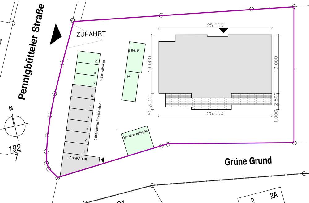 Lageplan: Pennigbütteler Str 2 / Ecke Grüne Grund