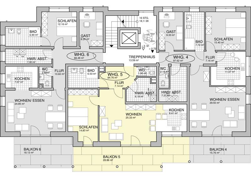 Grundriss: Obergeschoss Grüne Grund